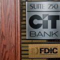 Sign for CIT Bank on a door