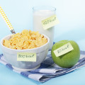 Breakfast foods labeled with calorie counts