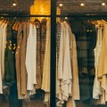 Clothing rack through shop window