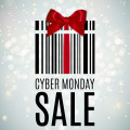 """Image of present with red bow and words """"Cyber Monday Sale"""""""